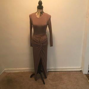 Tan bodycon maxi dress.